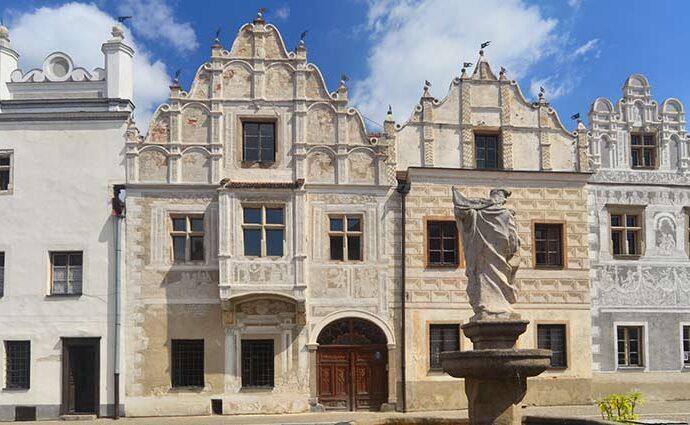 Renaissancefassade von Häusern in Slavonice